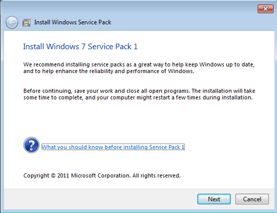 sp1 Windows 7 SP1 Install Step by Step