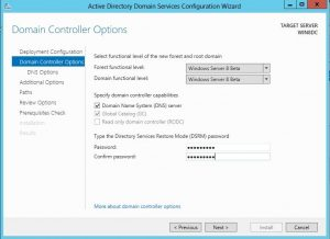 dcpromo16-300x218 Windows 8 Server Beta Active Directory ADDS Installation