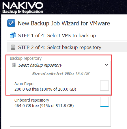 nakaz16 Nakivo Backup & Replication Backup to Azure
