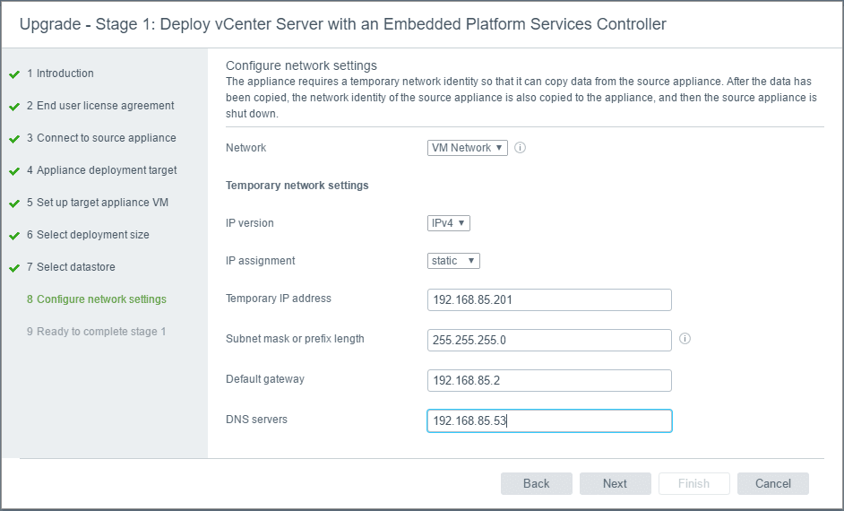 vc65up12 Upgrade VMware vCenter VCSA appliance 6.0 to 6.5