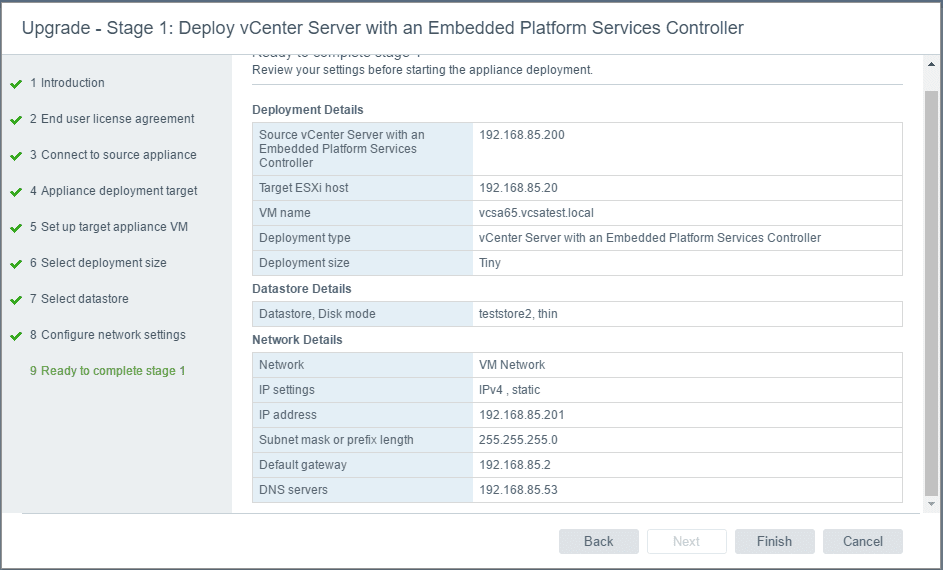 vc65up13 Upgrade VMware vCenter VCSA appliance 6.0 to 6.5
