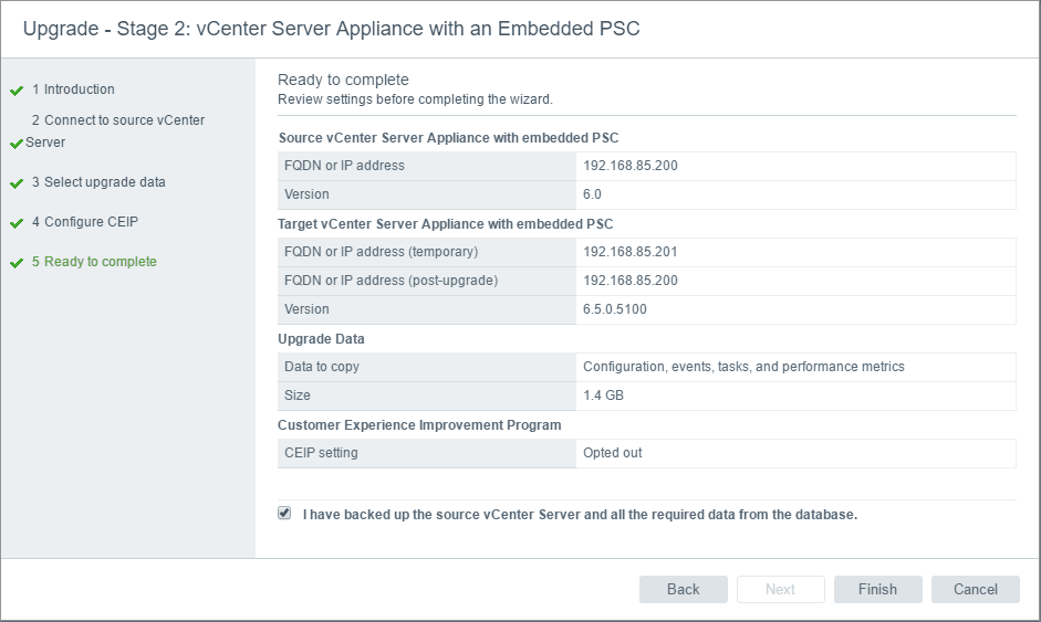 vc65up24 Upgrade VMware vCenter VCSA appliance 6.0 to 6.5