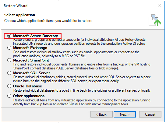 vbr_ad02 Veeam Restore Windows Server 2016 Active Directory Objects