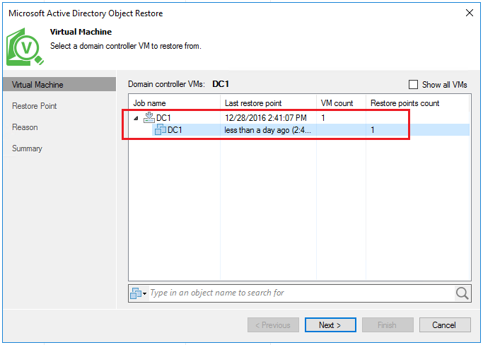 vbr_ad03 Veeam Restore Windows Server 2016 Active Directory Objects
