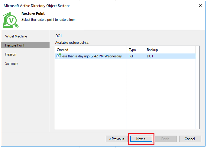 vbr_ad04 Veeam Restore Windows Server 2016 Active Directory Objects