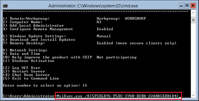 coreun03 Windows Server 2016 Hyper-V Server Core Uninstall Programs