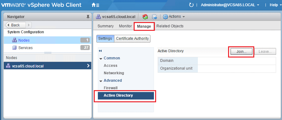 vcdomain02 VMware VCSA 6.5 error code 42500 joining Active Directory domain