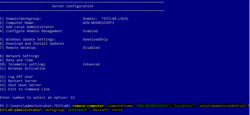 w16scdisjoin08 Windows Server 2016 Server Core the machine is already joined to the domain