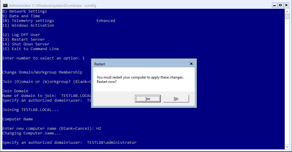 w16scdisjoin09 Windows Server 2016 Server Core the machine is already joined to the domain