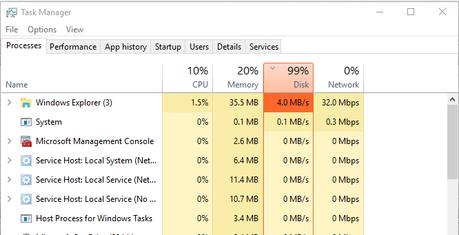 win10disk01 Windows 10 VM 99 percent disk utilization performance issue
