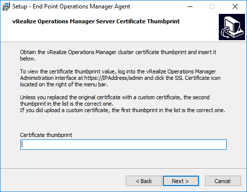 03-vRealize-Operations-Manager-6.6-Endpoing-Thumbprint-setup Install vRealize Operations Manager 6.6 Endpoint Agent