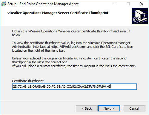 07-Paste-in-the-vRealize-Operations-Manager-6.6-SSL-thumbprint Install vRealize Operations Manager 6.6 Endpoint Agent
