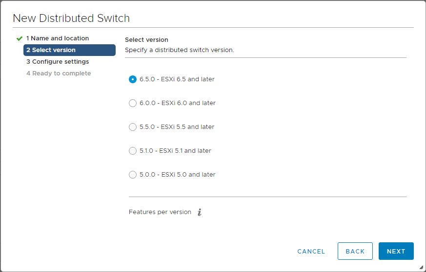 Choosing-Distributed-Switch-version Upgrading VMware vSphere VCSA Appliance to 6.5 Update 1