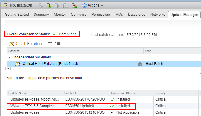ESXi-6.5-Update-1-successfully-installed-check-compliance Upgrade to VMware ESXi 6.5 Update 1 using VUM