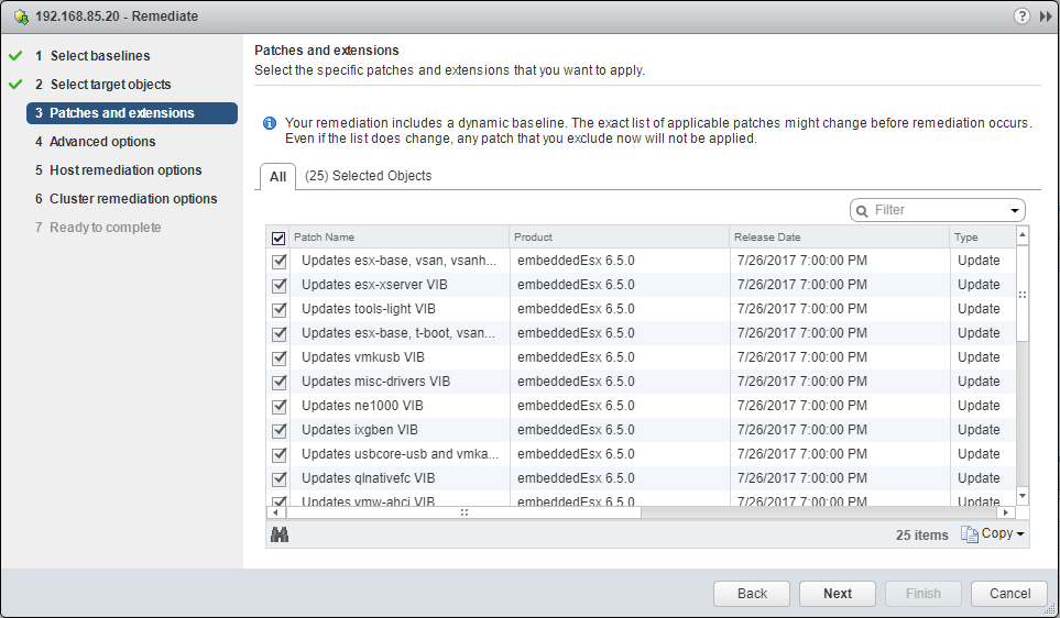 VUM-Remediation-wizard-apply-or-exclude-updates Upgrade to VMware ESXi 6.5 Update 1 using VUM