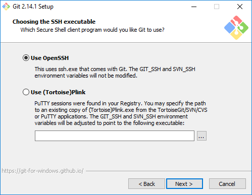 Choose-SSH-executable-for-Git-Hub-Windows Use Git with Visual Studio Code