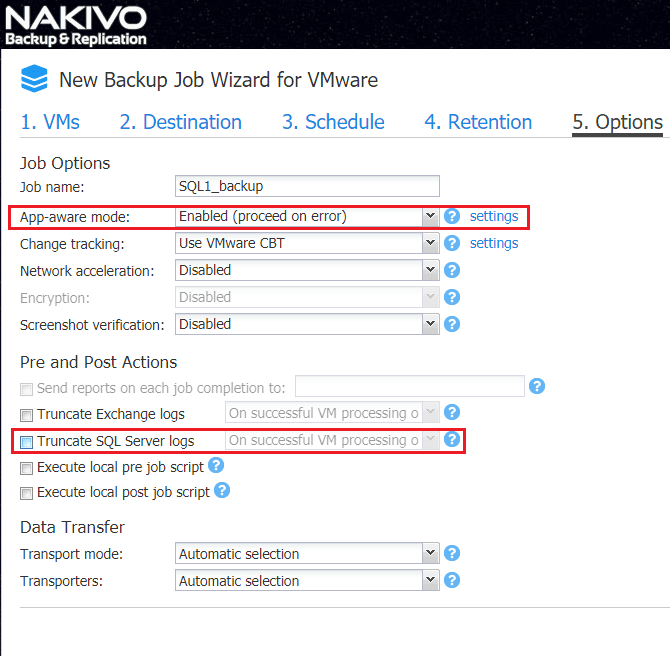 Setting-application-aware-mode-and-SQL-log-truncation-options Nakivo Backup and Replication 7.2 GA released