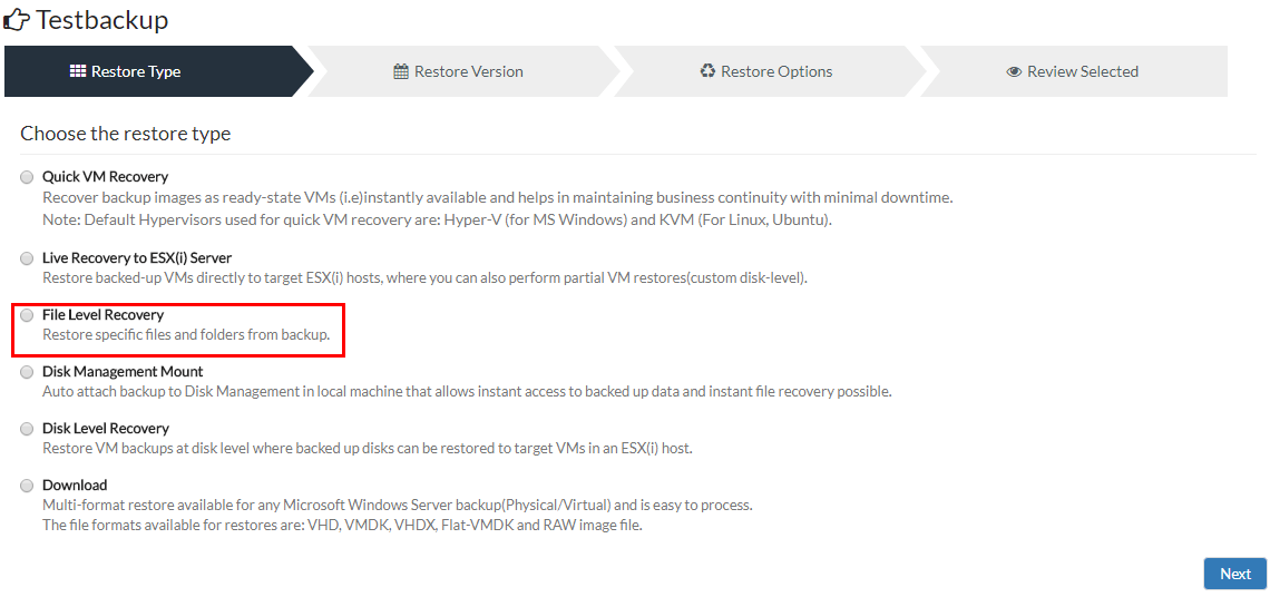 Vembu-BDR-Suite-3.8-File-Level-Recovery-in-GUI Vembu BDR Suite 3.8 Released with New Features