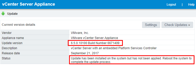 Current-build-shown-reboot Install VMware VCSA vCenter Appliance Photon OS Security Patches
