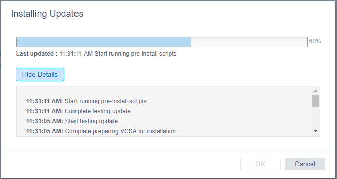 Update-GUI-pre-install-scripts-running Install VMware VCSA vCenter Appliance Photon OS Security Patches