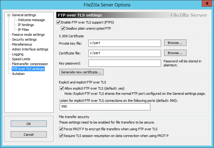 Certificate-created-and-options-set-for-FTPS Create Secure FTPS server for VMware VCSA 6.5 Backups
