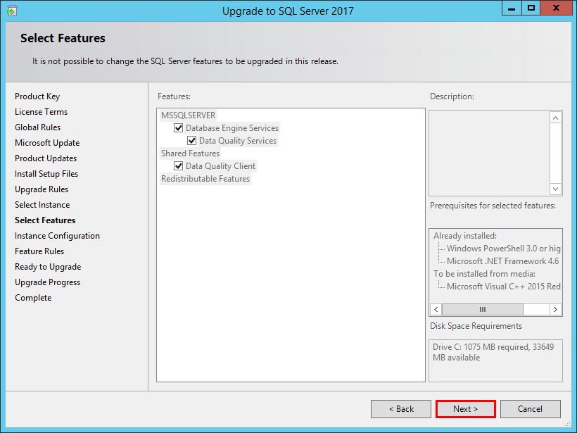 Select-SQL-Server-2016-features-to-upgrade Upgrade SQL Server 2016 to 2017