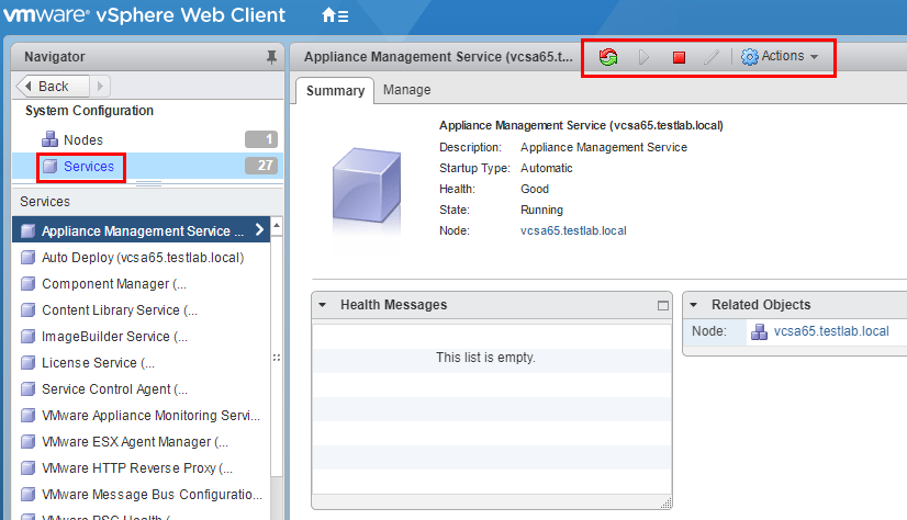 VCSA-service-health-stop-start-etc Monitor and Troubleshoot VMware vCenter Server VCSA Performance