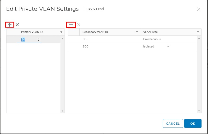 Configure VMware Distributed Switch Private VLANs