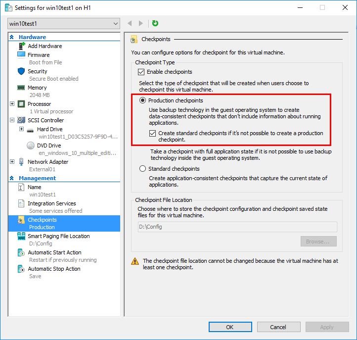 Viewing-the-Hyper-V-production-checkpoints-settings Use Snapshots in Production with Hyper-V Production Checkpoints