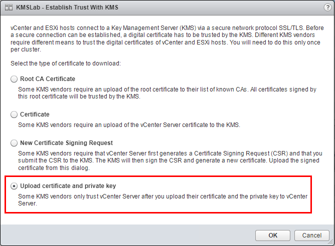 Choose-to-upload-the-certificate-and-private-key Hytrust VMware Virtual Machine Encryption