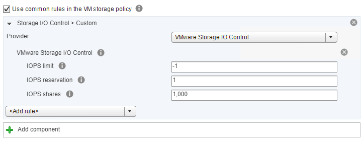 Choosing-custom-in-the-Storage-IO-Policy-SIOC Setup and Configure VMware vSphere 6.5 Storage I/O Control