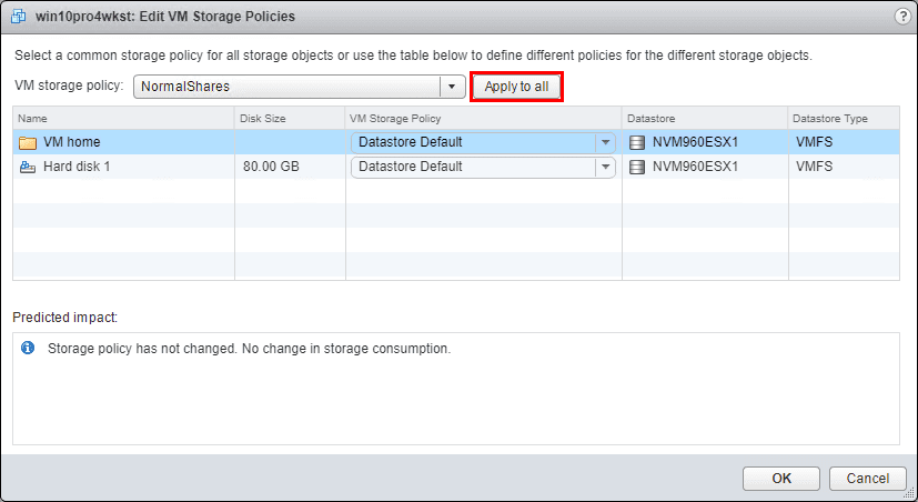 Select-the-Storage-Policy-created-in-the-dropdown Setup and Configure VMware vSphere 6.5 Storage I/O Control