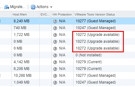 Showing-which-virtual-machines-have-VMware-Tools-upgrade-available Upgrade VMware Tools to Latest Version