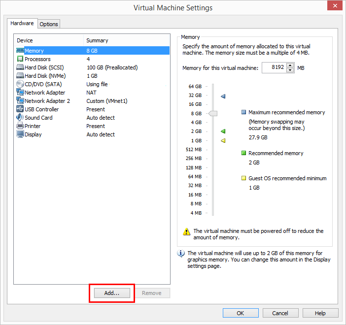 Start-the-Add-Hardware-Wizard Change Boot Drive to NVMe Storage Controller in VMware Workstation 14