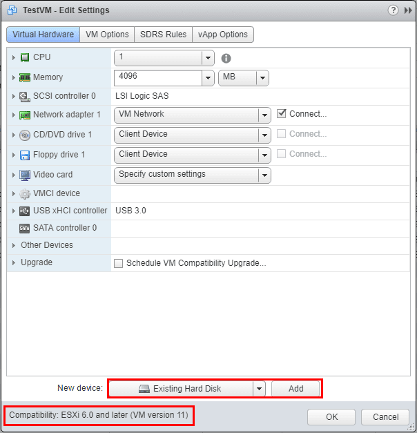 Add-Existing-Hard-Drives-to-New-VM-with-lower-Hardware-Compatibility-Level Veeam Restore VM hardware version is not supported by destination host