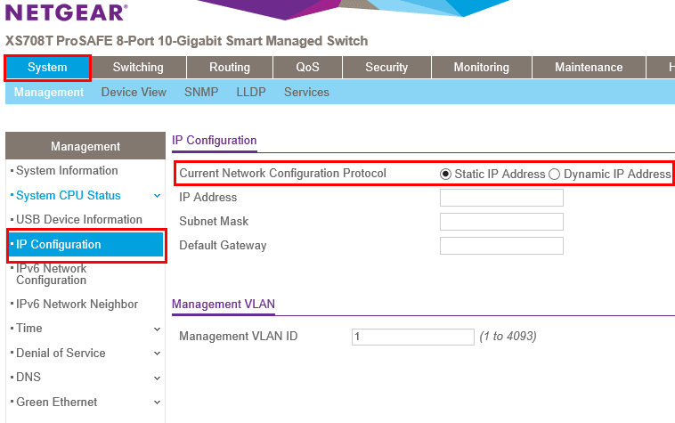 Configuring-the-IP-address-on-Netgear-XS708-T 10 Gig Switch for Home Lab