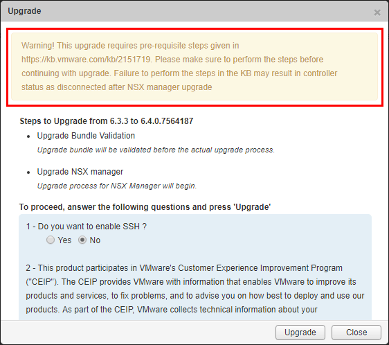 If-your-upgrade-notes-needing-to-follow-VMware-KB-2151719-perform-those-steps-before-upgrading VMware NSX 6.4 Released New Features and Upgrade
