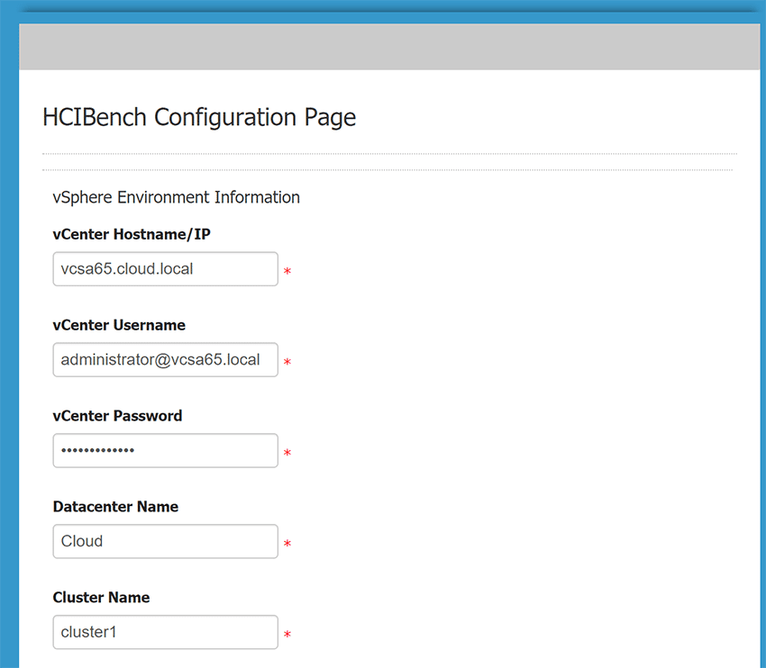 Configure-the-vCenter-connection-for-HCI-Bench Configure HCI Bench for VMware vSAN Performance Testing