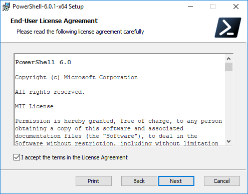 Accept-the-PowerShell-Core-EULA Installing PowerShell Core PowerCLI 10.0 in Windows 10
