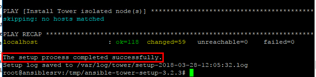 Ansible-Tower-installation-completed-successfully Install and Configure Ansible Tower in Ubuntu Server