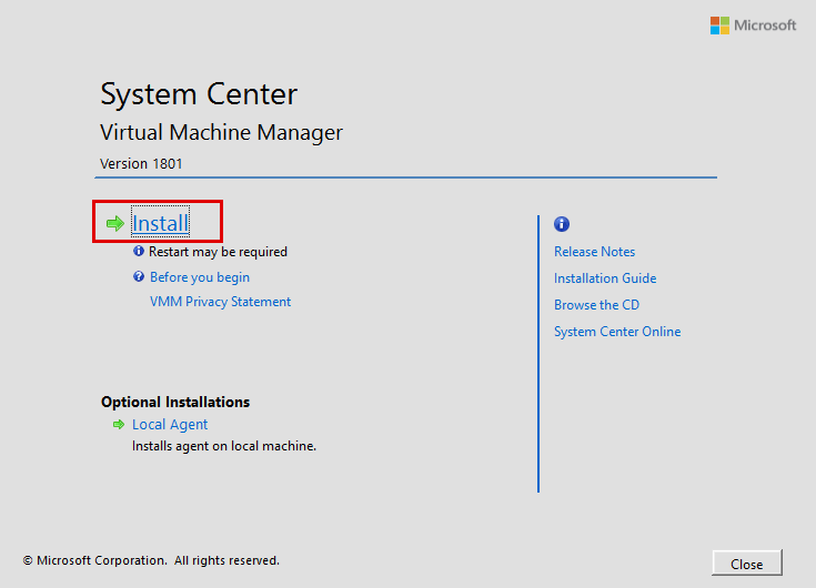 Click-the-Install-Link-on-the-System-Center-Virtual-Machine-Manager-1801-installation-screen System Center Virtual Machine Manager 1801 New Features and Installation