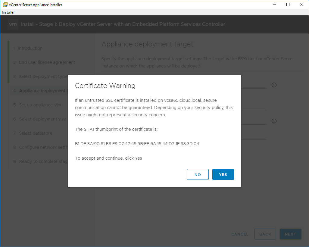 Accept-the-certificate-warning VMware VCSA 6.7 New Features Installation and Configuration