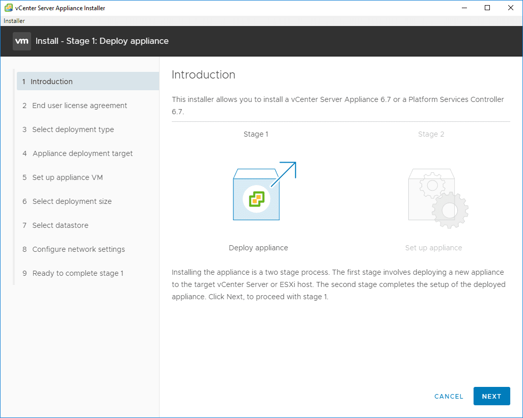 Introduction-to-the-2-stage-process-to-deploy-the-VCSA-6.7-appliance VMware VCSA 6.7 New Features Installation and Configuration
