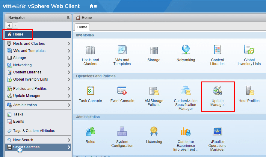 Navigating-to-Home-and-Update-Manager-settings Configuring VMware ESXi 6.7 Quick Boot and HTML5 vSphere Update Manager VUM