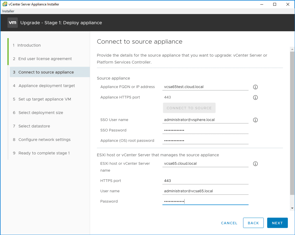 Providing-connection-information-for-the-source-VCSA-appliance-and-the-vCenter-Server-that-it-is-managed-by Upgrading to VMware vCenter Server VCSA 6.7