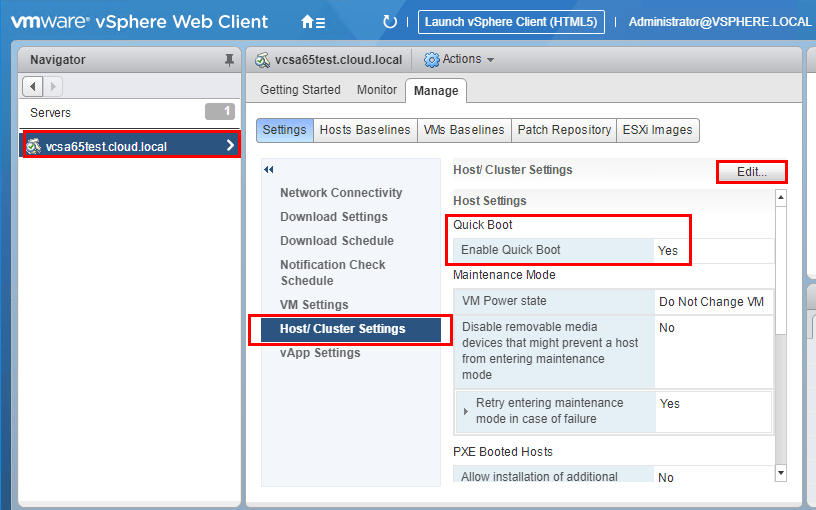 Quick-Boot-Settings-are-found-under-the-Host-Cluster-Settings-configuration Configuring VMware ESXi 6.7 Quick Boot and HTML5 vSphere Update Manager VUM