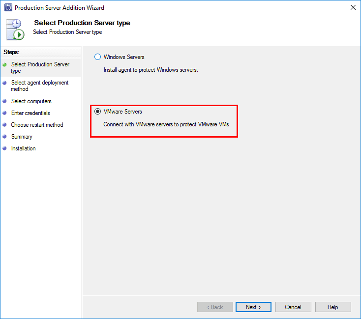 Select-VMware-Servers-on-the-Production-Server-Addition-Wizard Connect VMware vCenter to Microsoft Azure Backup Server
