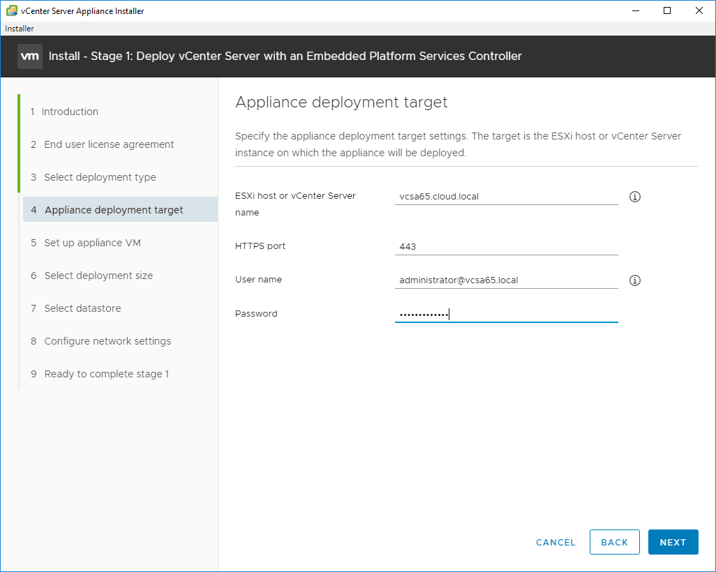 Select-the-Appliance-Deployment-Target-for-VCSA-6.7 VMware VCSA 6.7 New Features Installation and Configuration