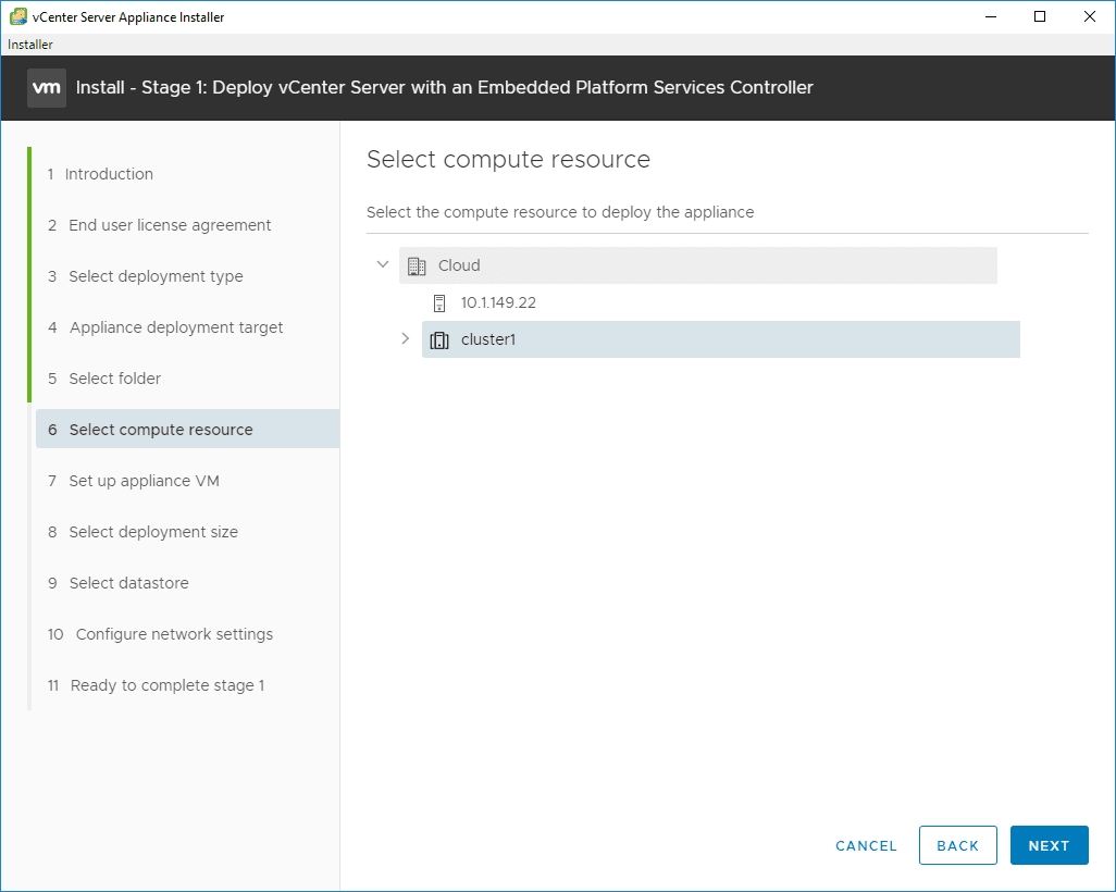 Select-the-compute-resource-for-the-new-VCSA-6.7-appliance VMware VCSA 6.7 New Features Installation and Configuration