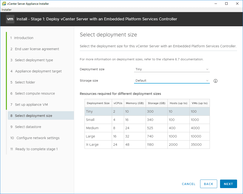 Select-the-deployment-size VMware VCSA 6.7 New Features Installation and Configuration